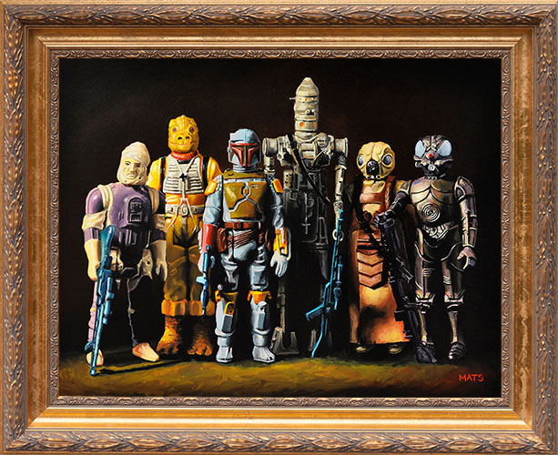 Bounty Hunters - Vintage Star Wars figure Oil Painting by Mats Gunnarsson