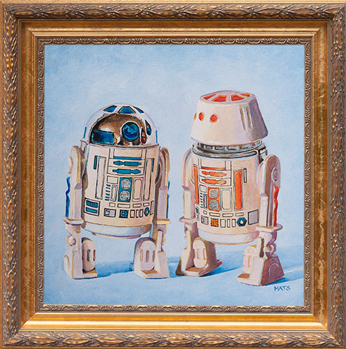 R2-D2 and R5-D4 - Vintage Star Wars figure Oil Painting by Mats Gunnarsson