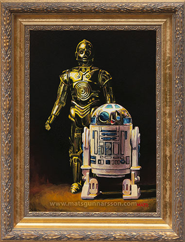 R2-D2 and C3PO - Vintage Star Wars figure Oil Painting  by Mats Gunnarsson